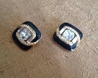 FABULOUS TRIFARI TM Gold Tone Clear Rhinestone and Black Enamel Clip earrings