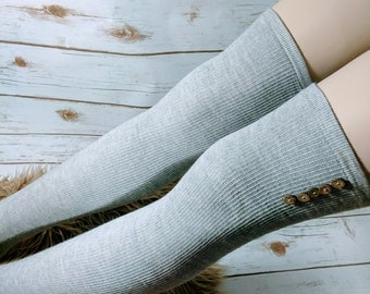 Gray thigh high socks