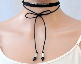 Multi wrap choker, Black Wrap Choker, Black string choker, Cord wrap choker rope  necklace, Long necklace whit silver black beads