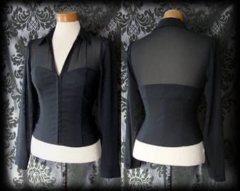 Gothic Black Sheer Hook Up Fitted GOVERNESS Boned Corset Blouse 8 10 Victorian
