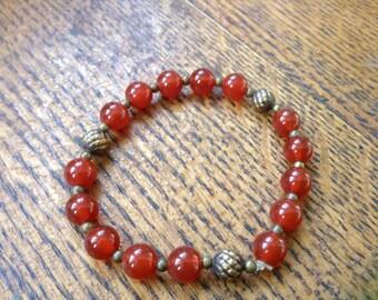 Carnelian and Brass Stretch Bracelet