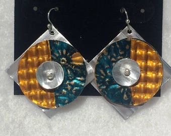 Teal Daisy Embossed Patina Copper Orange Waffle Silver Corrugated Embossed Anodized Aluminum Dapped Riveted Earrings