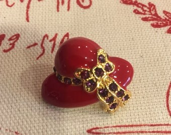Red Hat Society Lapel Pin with Purple Stones