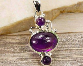 Purple Flame Amethyst & .925 Sterling Silver Pendant  U554