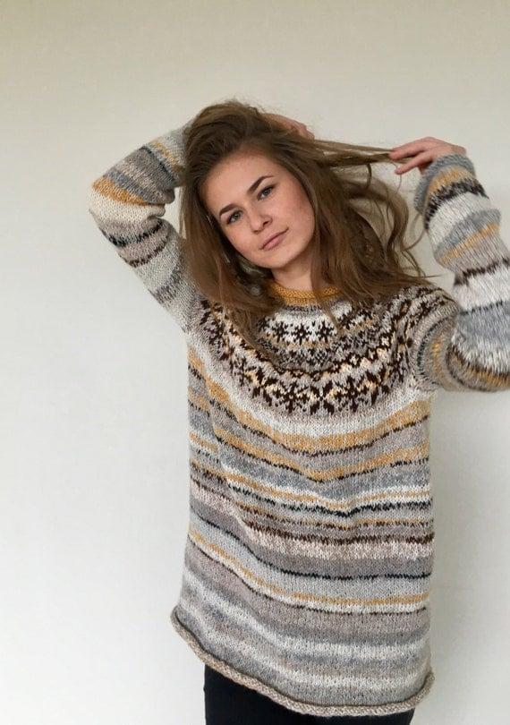 Knit sweater Icelandic sweater Fair Isle sweater Women's