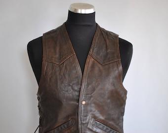 Vintage MEN'S LEATHER VEST , men's motorcycle vest.............(086)