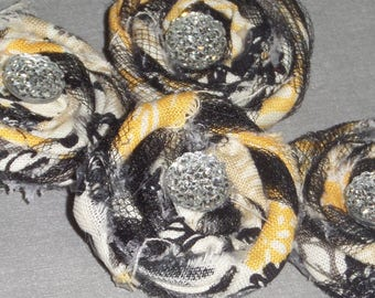 Shabby Chic Magnet SET in Yellow,Black and White Fabric, Tuelle and Faceted Rhinestone