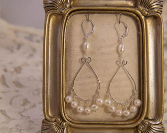 Pearl Bridal Chandelier Earrings in White and Sterling Silver