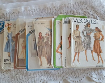 Vintage Lot of 10 Sewing Mixed Patterns for Women All 1980s CUT Simplicity, McCalls, Butterick Sized from 0 to 14
