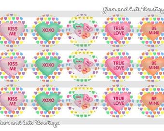 "Valentine's Day Conversation HEARTS INSTANT DOWNLOAD Bottle Cap Images 4x6 sheet 1"" circles"