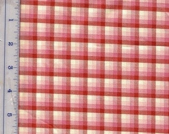 """End of Year SALE Red Plaid Fabric 54""""W Polished Cotton Fabric for Quilts, Home Decor, Curtains, Cushions, Red Check Cottage Style"""