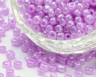 6/0 Ceylon Plum Lustered Seed Beads