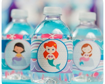 Under the Sea Party Water Bottle Wrappers; Little Mermaid Birthday Party Water Bottle Wrappers; Mermaid Party; Mermaid Party