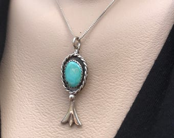 Vintage Turquoise Necklace, Sterling Silver Turquoise Pendant, Southwest Jewelry