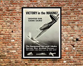 Reprint of a U.S. WW2 Propaganda Poster - Victory in the Making