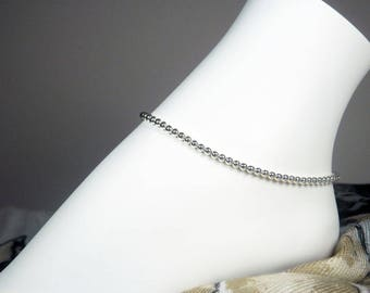 "Sterling Silver Anklet - Silver Bead Anklet - Sterling Silver Ankle Bracelet - Girls Size - Plus Size - 7"", 8"", 9"", 10"", 11"", 12"", 13"""
