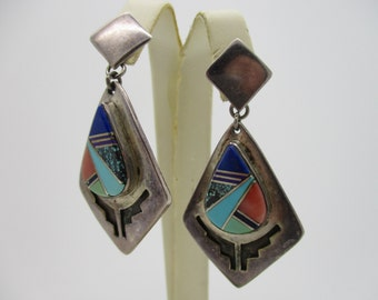 Sterling Silver Native American Indian Inlaid Mosaic Multi-Stone Drop Earrings