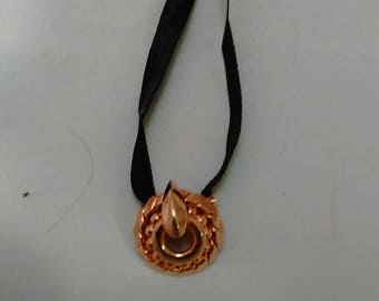 Art Deco Style Black satin ribbon with gold color Metal pendant Necklace