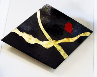 ART & COLLECTIBLES  Wood, Red, Black Lacquer Gold Leafing, Signed and Dated By Philip Marro