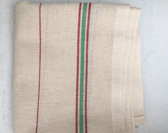 French Linen Tea Towels, Cream and Red Stripe, Woven Linen, Bistro Style Tea Towels, Brand New
