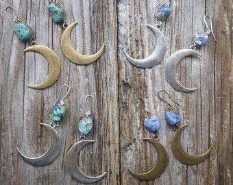 Selene Silver or Antiqued Bronze Crescent Moon Earrings with Turquoise or Sodalite Witchy Goth Boho Lunar Pagan Stone Gem Long
