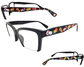 Women's Black 2.0 Strength Hand Painted Flip Flop Reading Glasses with Beach Ball, Starfish, and Multi-Color Polka Dots
