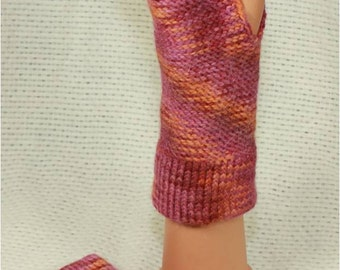 Alpaca and Wool Fingerless Gloves in Raspberry and Pumpkin