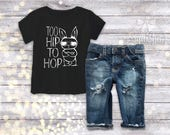 Too Hip to Hop, Boy Easter Shirt, Baby Boy Easter Shirt, Boy Easter Outfit, ANY SIZE Bodysuit or Shirt, Easter Bodysuit, Trendy Easter Shirt