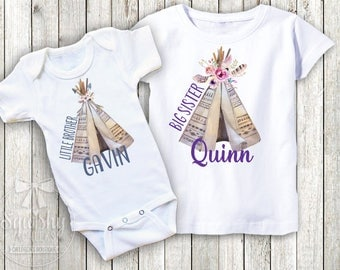 Boho Sibling Shirts Personalized Baby Announcement Little Sister Big Sister Big Brother Little Brother Shirts any COMBO any SIZE