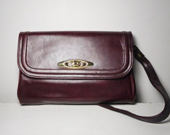 Burgundy Purse Deep Maroon Fold Over Large Clutch Removable Shoulder Straps Long Top Handle Gold Tone 6 Inside Pocket w Comb n Mirror Pocket