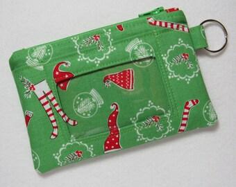 Limited Quantity! Christmas / Stocking / Elf /Santa Keychain ID Wallet, Student / Teacher / Work ID, Badge Holder, - 2 Options for ID Pocket
