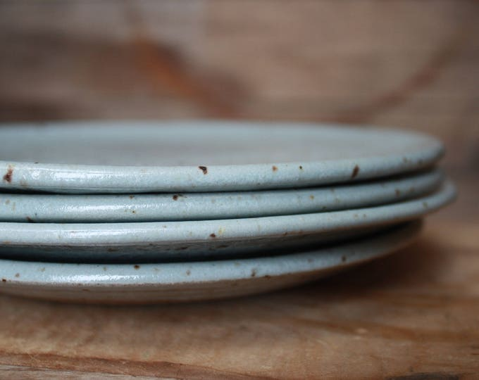 Set of 8 - Dinner Plates - Speckled Grey - KJ Pottery