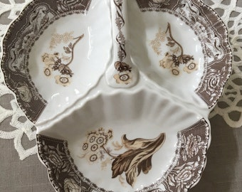 Vintage Godinger Antique Refections brown transferware dish with handle