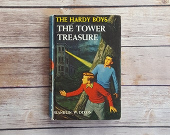 Vintage Hardy Boys Mystery The Tower Treasure 50s Adventure Novel Author Franklin Dixon Mystery Detective Story Americana 1950s Men Gift
