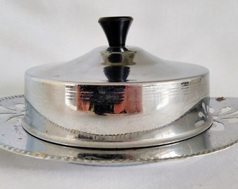 Art Deco 1930's Trinket Pot. Chrome & Glass Trinket Pot. Butter or Jam Art Deco Chrome Container with Lid.  Chrome Bakelite and Glass Pot