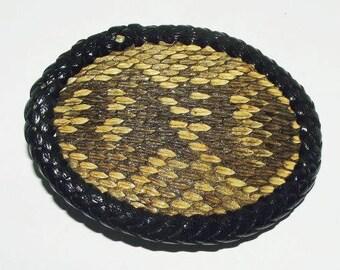 Genuine Vintage Hand Tanned Eastern Diamond Back Rattlesnake Belt Buckle/Rattlesnake/Rattle Snake/Buckle/Hand Laced