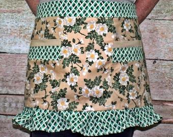 Hostess Apron - Apron with Pockets - Half Apron - Green Floral Apron - Ruffled Apron - Ladies Half Apron - Women's Half Apron