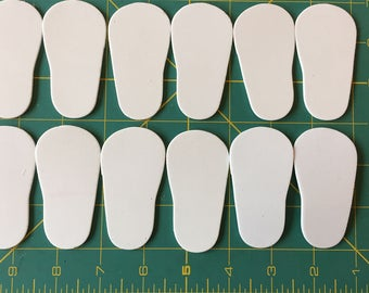 "White 2mm foam Shoe Sole to fit 18"" doll shoes"