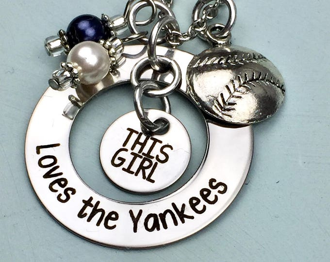 This girl loves baseball-necklace-sports-bat-ball-bases