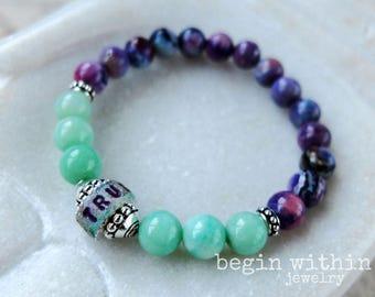 Gemstone Bracelet | Jade & Chrystotine Custom Bracelet | Personalized With Your Text