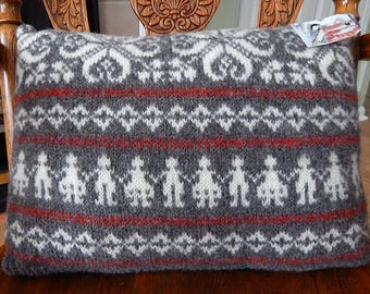 Wool Sweater Pillow, Nordic Children, Snowflake Design