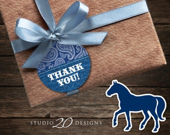 Instant Download Country Western Thank You Tags, Grey Navy Blue Cowboy Printable Gift Tags, Denim Birthday Party Baby Shower Favor Tags 94B