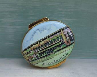 Vintage Crummles Enamel Trinket Box, Wimbledon Tennis All England Club Souvenir