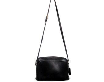 Vintage COACH Handbag Minimalist Black Leather Bag Anderson Crossbody Purse Made in USA