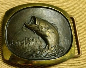Vintage SL Knight Sculpture Salt Lake City Crafted by Shallizar Solid Bronze Trout Belt Buckle