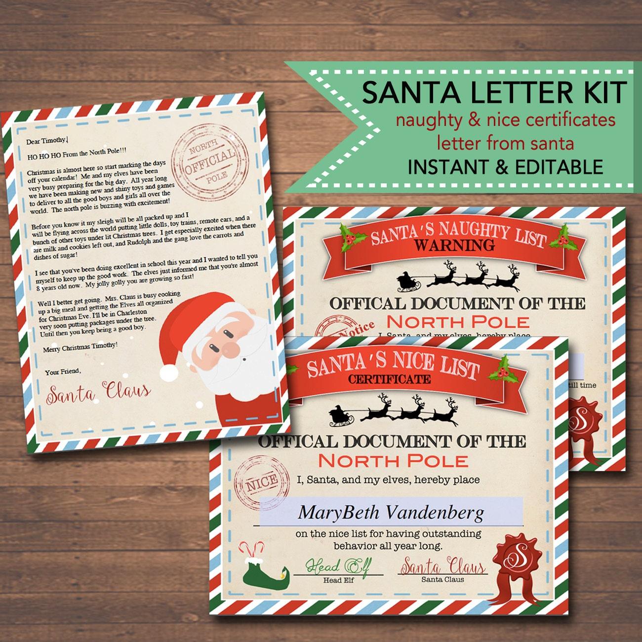 santa letter editable nice naughty certificates santa letter christmas reward certificate santa s nice list letter from santa template instant