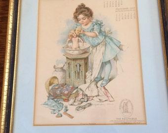 "1904 MAUD HUMPHREY CALENDAR Framed Print ""Playing Mamma"""