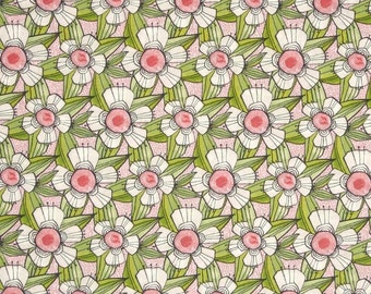Floral Fabric by the Yard, Quilt, Flower, Cotton, Daisy, Nursery, Baby, Girl, Pink, Green, Retro, Large Print, Retro, Childrens, Decor