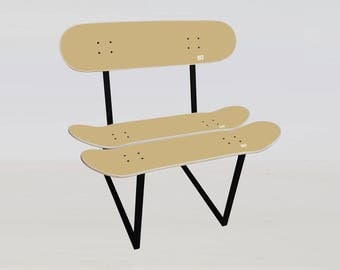 Chair skateboard furniture, original skater gift - cinnamon