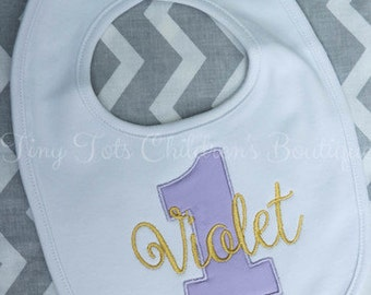 Personalized First Birthday Bib - Embroidered Birthday Bib - Girl - First Birthday - Bib - Embroidered - Personalized